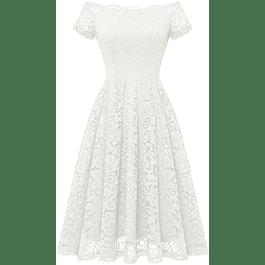 Vestido Corto Acampanado Manga Corta Hombros Descubiertos Ideal para Boda Civil y Matrimonio  Talla Plus Kadrihel