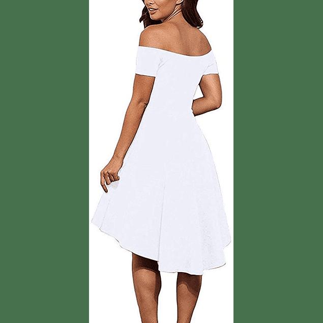 Vestido Asimétrico Cola Corta Todo Liso Ideal Para Matrimonio y Boda Civil Tallas Plus Kadrihel
