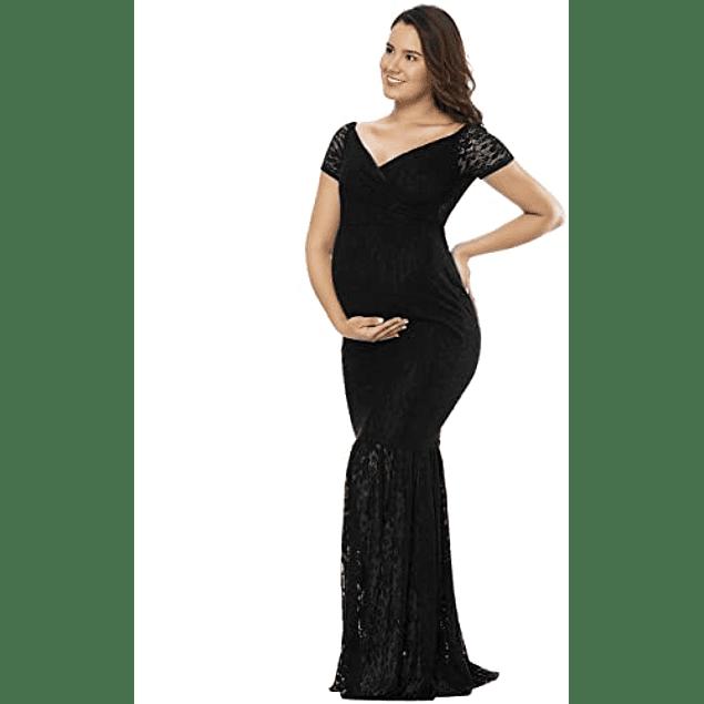 Vestido de Embarazada Tipo Sirena  Manga Corta Todo de Encaje Tallas Plus Kadrihel