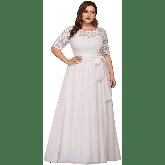 Vestido Largo Blusa de Encaje Manga 3/4 Y Falda de Gasa Ideal Para Matrimonio Talla Plus Kadrihel