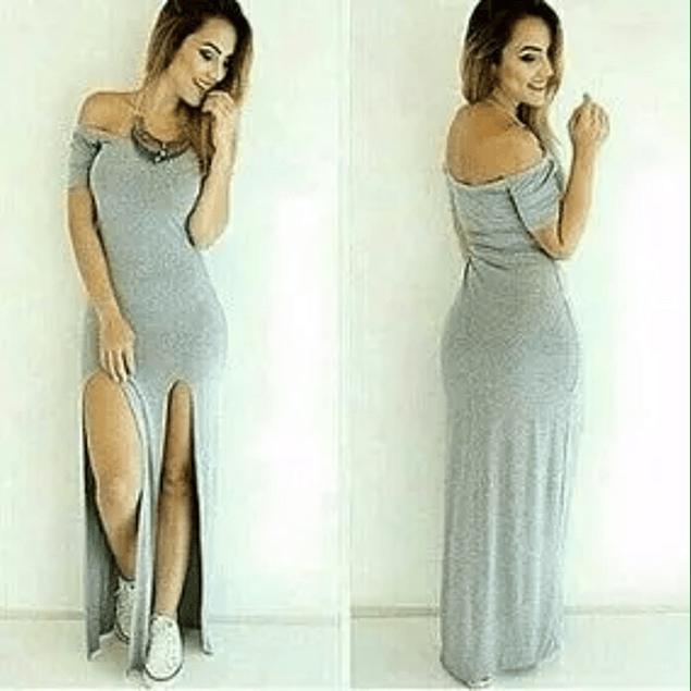 Vestido Largo Casual Hombros descubiertos Doble Abertura En Pierna  Kadrihel