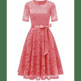 Vestido de Encaje Acampanado casual semiformal Talla Pluss Kadrihel