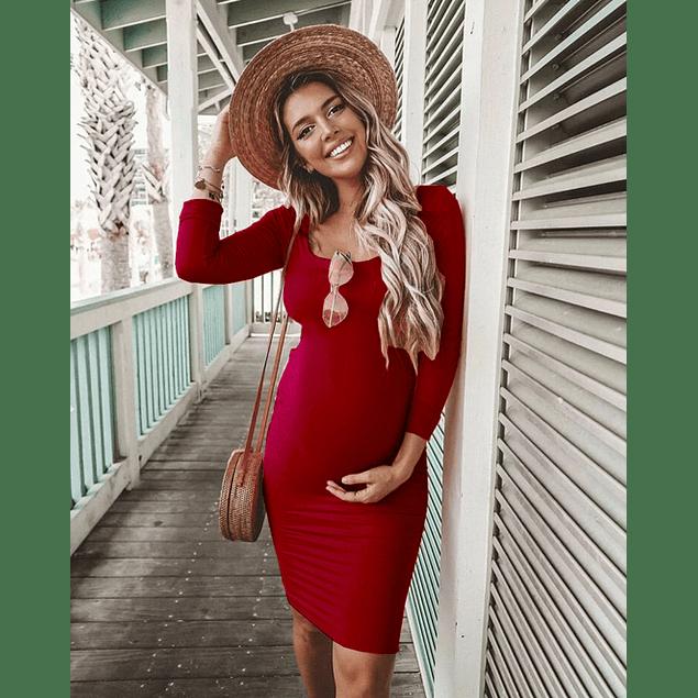 Vestido de Embarazada  Corto  Ajustado Con abertura en La espalda Tallas Plus Kadrihel