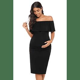 Vestido Corto Ajustado de Embarazada con Vuelo Tallas Plus Kadrihel