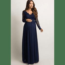 Vestido Largo de Embarazada Cruzado Con Forma todo de Encaje Tallas Plus Kadrihel