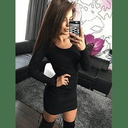 Vestido Corto Ajustado Manga Larga Talla Plus Kadrihel