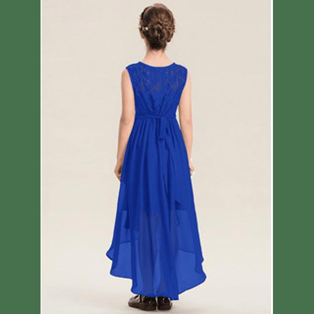 Vestido De Niña  Blusa De Encaje Sin Mangas Falda Asimétrica Cruzada Ideal Para Fiesta y Gala Kadrihel