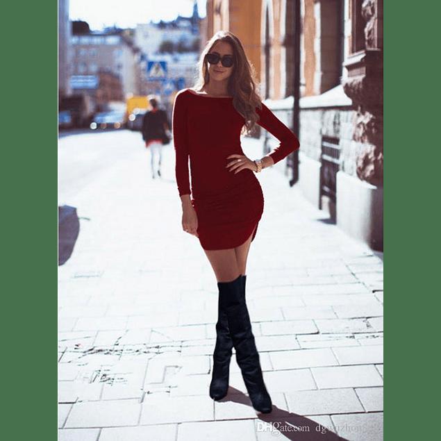 Vestido Casual Corto Ajustado Tipo Beisbolero Manga Larga Cuello Redondo