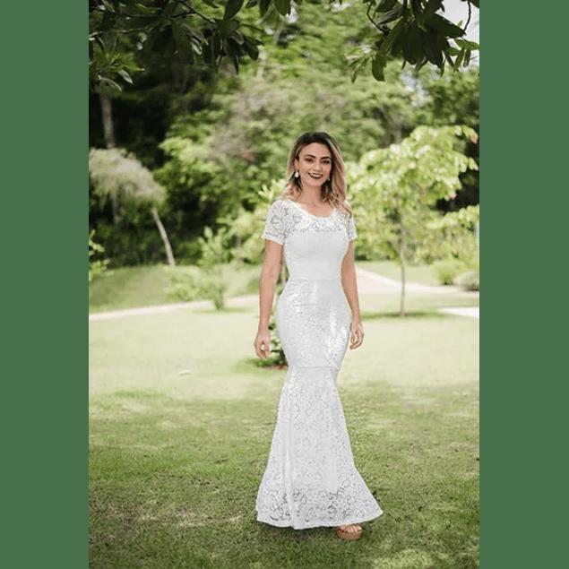 Vestido Largo Ajustado Corte Sirena Todo de Encaje De Matrimonio Boda Civil Kadrihel