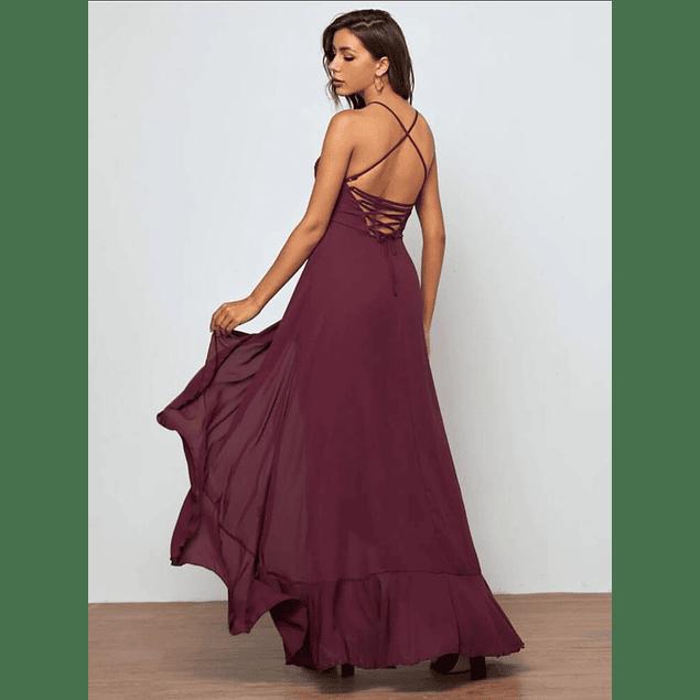 Vestido Largo Casual de Gasa Ideal Para Fiesta Gala Graduación Tipo Cóctel Talla Pluss Kadrihel