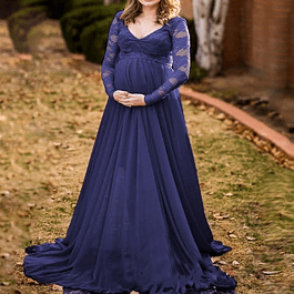 Vestido Largo  de Embarazada Cuello En V Blusa De Encaje Manga Larga Tallas Plus Kadrihel