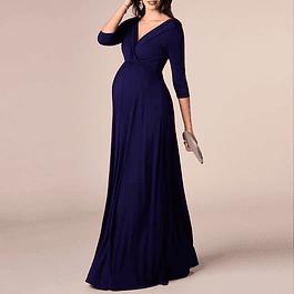 Vestido Largo Semi Cruzado En Busto Todo Liso Para Embarazadas De Fiesta Y Gala Talla Plus Kadrihel