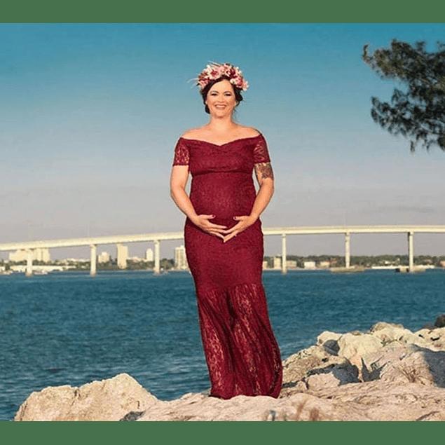 Vestido Ajustado Corte Sirena Todo De Encaje  Hombros Descubiertos Para Embarazadas Talla Plus Kadrihel