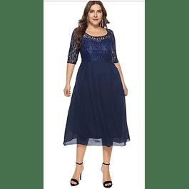 Vestido Acampanado Semi Formal Ideal para Fiesta Tallas Plus Kadrihel