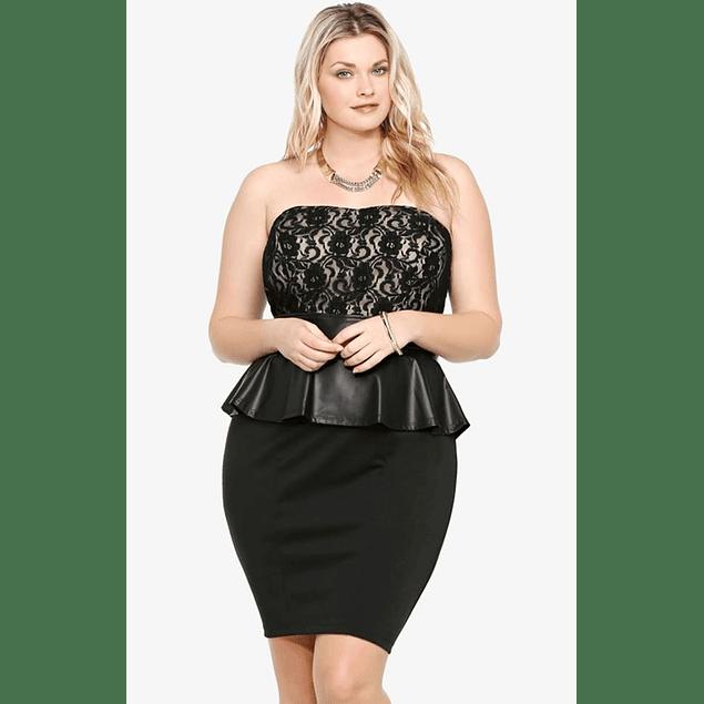 Vestido Semiformal Con Peplum, Elegante Ideal para Gorditas Tallas plus Kadrihel