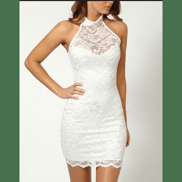 Vestido Corto de Encaje Con Cuello Alto Ideal para Matrimonio Tallas Plus Kadrihel