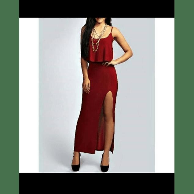 Vestido Ajustado Sin Mangas con Vuelo y Abertura en Pierna Tallas Plus Kadrihel