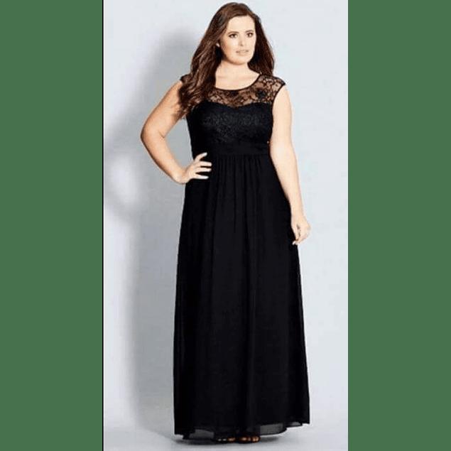 Vestido largo de Encaje sin Mangas Tallas Plus Kadrihel