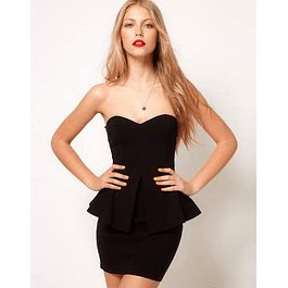 Vestido Ajustado Tipo Straple con Peplum  Ideal para fiesta y Gala Tallas Plus Kadrihel