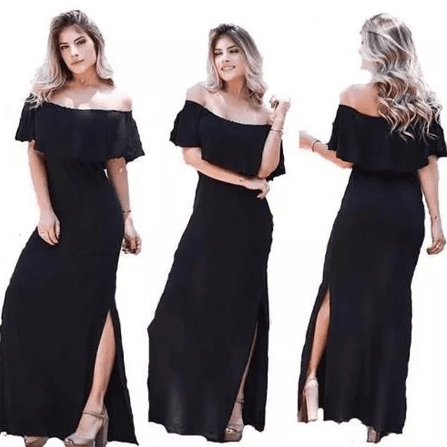 Vestido Largo Con Vuelo y Abertura en Pierna Ideal Para Coctel, Gala y FIesta Tallas Plus Kadrihel