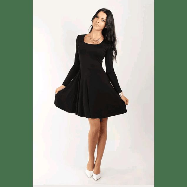 Vestido Corto Acampanado Cuello Redondo y Manga larga Ideal Para Fiesta Tallas Plus Kadrihel