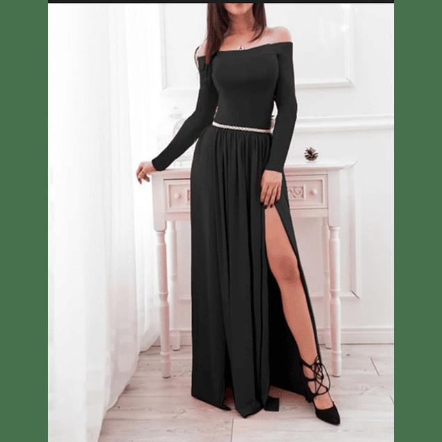 Vestido Largo Sin Cuello y Manga larga con Abertura en Pierna Tallas Plus Kadrihel (NO INCLUYE CINTURÓN)