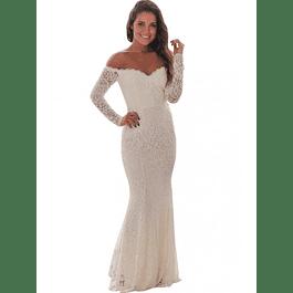 Vestido Sirena con Forma todo de Encaje ideal para Matrimonio Tallas Plus Kadrihel
