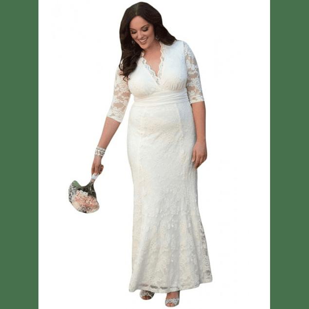 Vestido Largo Todo de Encaje Manga Larga Ideal Para Matrimonio Tallas Plus Kadrihel