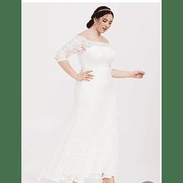 Vestido Largo Todo de Encaje Ideal para Matrimonio Tallas Plus Kadrihel