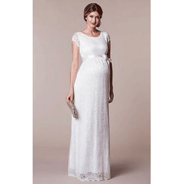 Vestido Largo todo de encaje con Mini Mangas de Embarazada  ideal para Matrimonio Tallas Plus Kadrihel