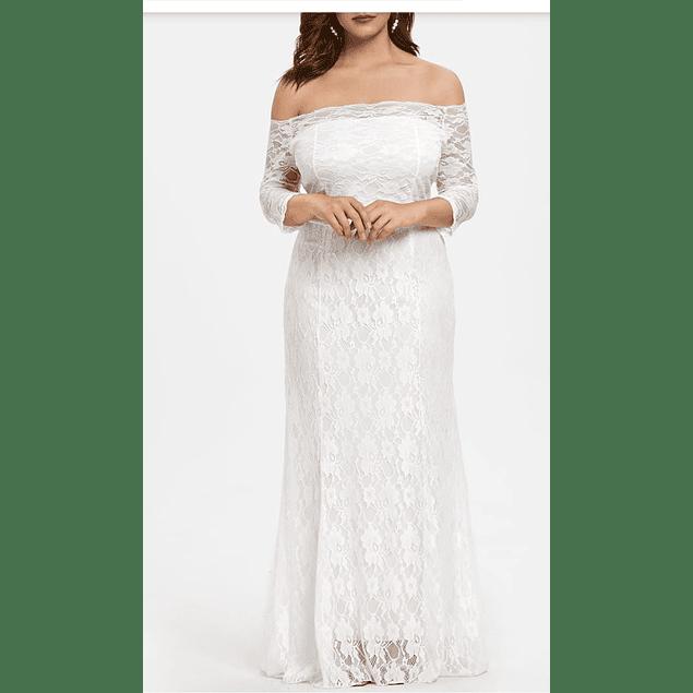 Vestido Largo Todo de Encaje con Forma ideal para Matrimonio Tallas Plus Kadrihel