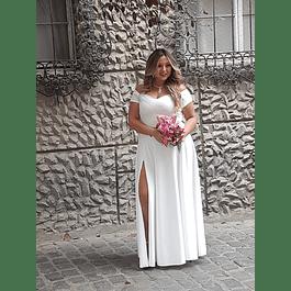 Vestido Largo Cuello Bote Manga Corta y Abertura en Piernas Ideal para Matrimonio Tallas Plus Kadrihel