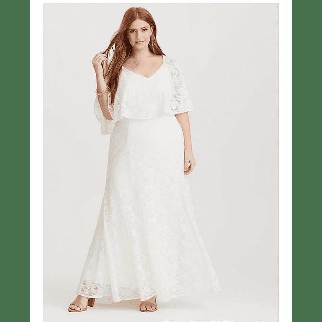 Vestido Largo Acampanado todo de encaje con Vuelo ideal para Matrimonio Tallas Plus Kadrihel