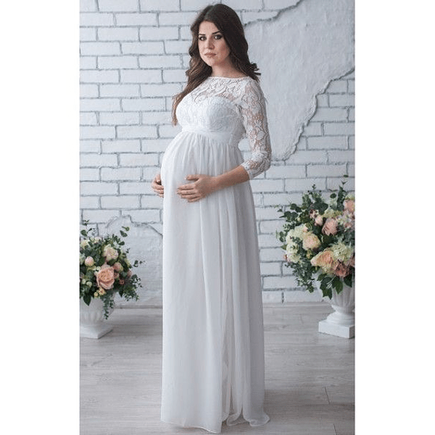 Vestido Largo Acampanado con Mangas de Encaje de Embarazada Idea Matrimonio Tallas Plus Kadrihel
