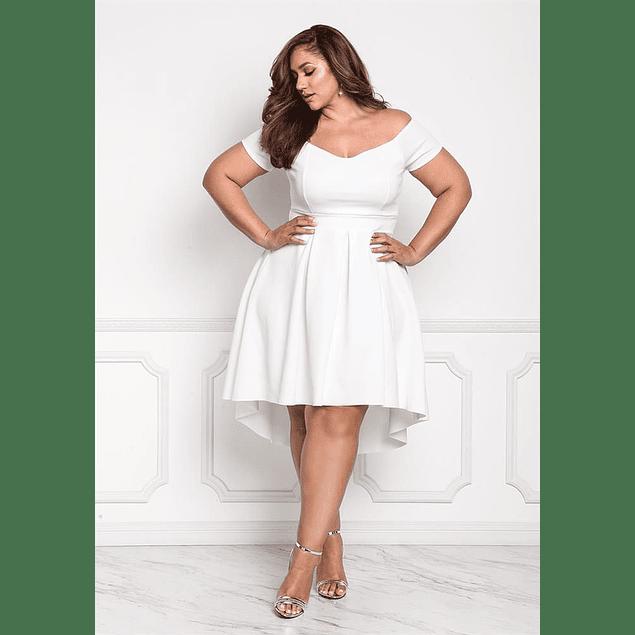 Vestido Asimétrico Forma Corazón Con Mini Mangas Ideal Para Matrimonio Tallas Plus Kadrihel