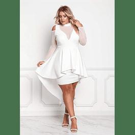 Vestido asimétrico con peplum y Transparencia en mangas y Busto Ideal para Matrimonio Tallas Plus Kadrihel