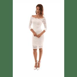 Vestido Ajustado todo de encaje con Forma Ideal para Matrimonio Tallas Plus Kadrihel