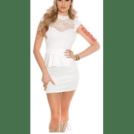 Vestido Ajustado con Cuello Transparencia en Busto y Peplum Ideal Para Matrimonio Tallas Plus Kadrihel