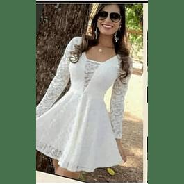 Vestido Acampanado Manga Larga y Transparencia en busto Ideal para Matrimonio Tallas Plus Kadrihel