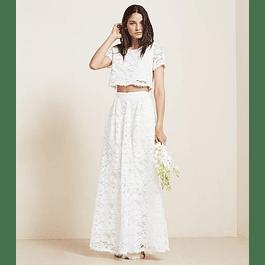 Conjunto de falda y Crop Top Suelto de Encaje Ideal para Boda Civil Tallas Plus Kadrihel