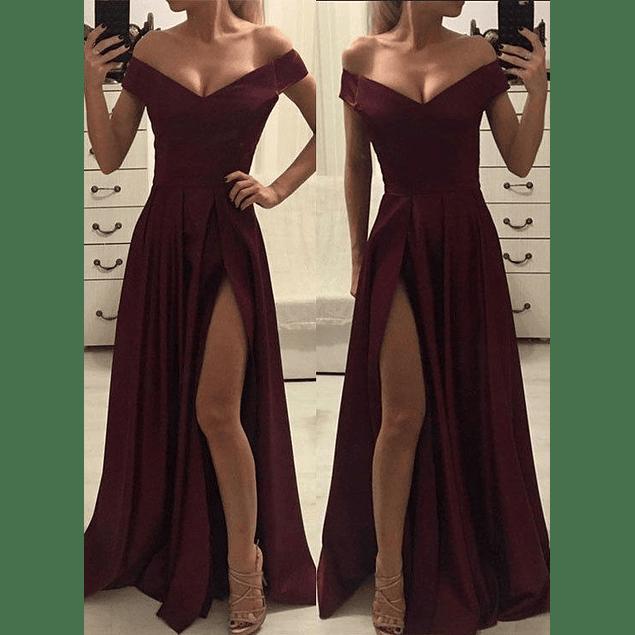 Vestido Largo Cuello Corazon con Abertura en Pierna Tallas Plus Kadrihel
