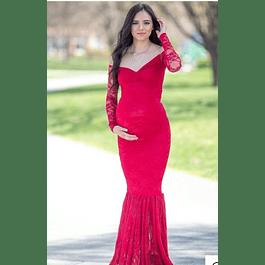 Vestido de Embarazada Tipo Sirena Cuello Corazon Manga Larga Todo de Encaje Tallas Plus Kadrihel