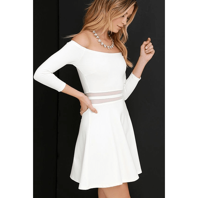 Vestido Acampanado Casual Sin Hombro Manga Largas con Transparencia en Cintura Ideal Para boda Civil Talla Plus Kadrihel