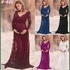 Vestido De Embarazada Corte en V Todo de Encaje Talla Plus Kadrihel