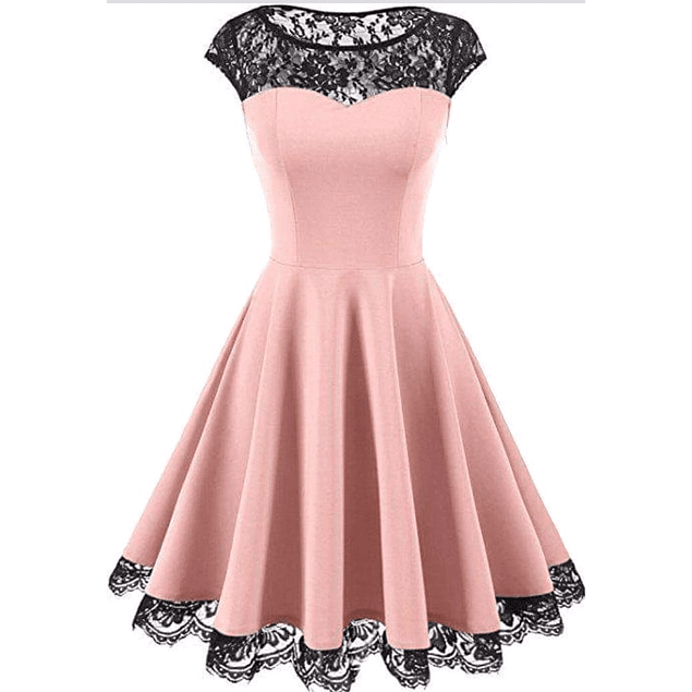 Vestido Acampanado Forma de Corazón Con Transparencia en Pecho De encaje Plus Kadrihel