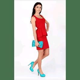 Vestido Corto Ajustado Tipo Franelilla Con Peplun Tallas Plus Kadrihel