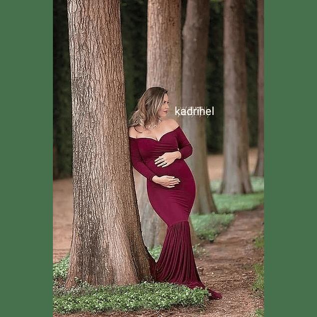 Vestido de Embarazada Tipo Sirena Sin Hombros Cuello Corazón Tallas Plus Kadrihel