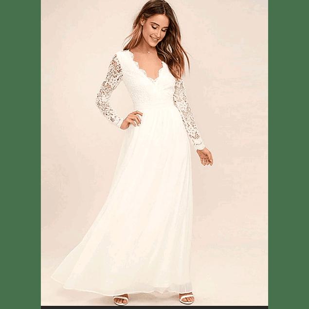 Vestido Largo Ideal para Boda Civil Tallas Plus Kadrihel
