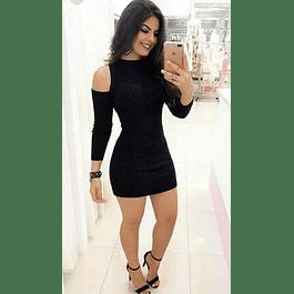 Vestido Corto Ajustado Manga Larga Tallas Plus Kadrihel