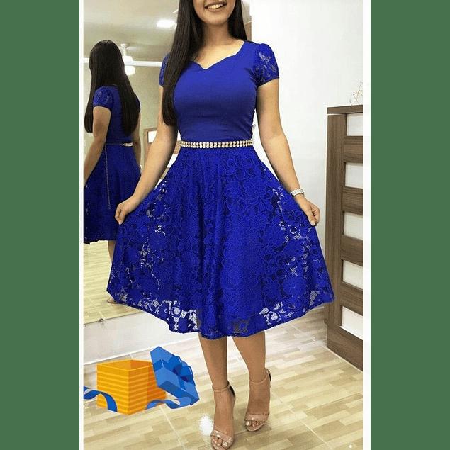 Vestido Acampanado  de Encaje Con Cuello Corazón Manga Corto Tallas Plus Kadrihel (NO INCLUYE CINTURÓN)